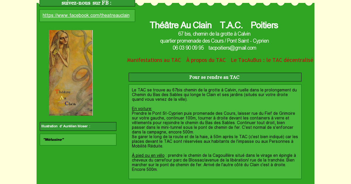 Th tre au clain t a c manifestations au tac for Garage poitiers clain